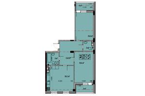 ЖК Vlasna (Власна): планировка 2-комнатной квартиры 81.7 м²