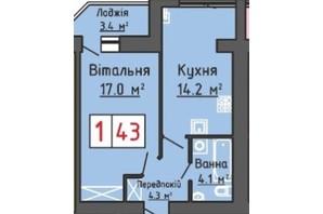 ЖК Волошковий дім: планування 1-кімнатної квартири 43 м²