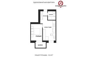 ЖК Воробьевы горы family: планировка 1-комнатной квартиры 33.6 м²