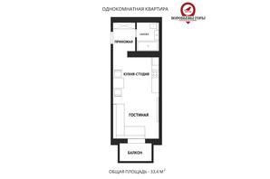 ЖК Воробйовi гори family: планування 1-кімнатної квартири 33.4 м²