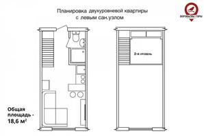 ЖК Воробйові гори на полях 3: планування 1-кімнатної квартири 19 м²