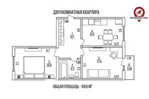 ЖК Воробйові гори на полях: планування 2-кімнатної квартири 69 м²