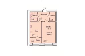 ЖК Вильский: планировка 1-комнатной квартиры 40.62 м²