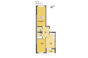 ЖК Vyshgorod Plaza: планування 2-кімнатної квартири 72.01 м²