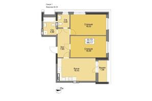 ЖК Vyshgorod Plaza: планування 2-кімнатної квартири 72.24 м²