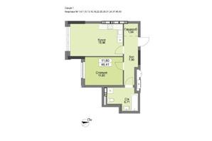 ЖК Vyshgorod Plaza: планировка 1-комнатной квартиры 46.41 м²