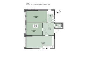 ЖК Vyshgorod Plaza: планування 2-кімнатної квартири 68.29 м²