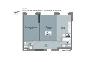 ЖК Vyshgorod Plaza: планування 2-кімнатної квартири 64.05 м²