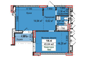 ЖК Вышгород Сити Парк: планировка 1-комнатной квартиры 46 м²