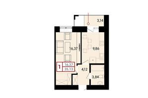 ЖК Вишневий: планування 1-кімнатної квартири 35.13 м²