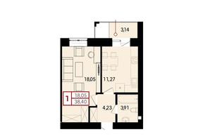 ЖК Вишневий: планування 1-кімнатної квартири 38.4 м²