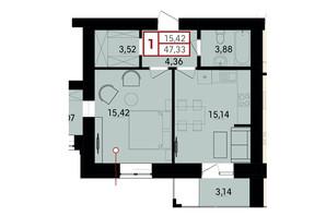 ЖК Вишневий: планування 1-кімнатної квартири 47.33 м²
