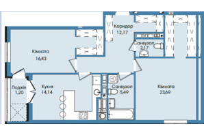 ЖК Washington City: планування 2-кімнатної квартири 75.29 м²
