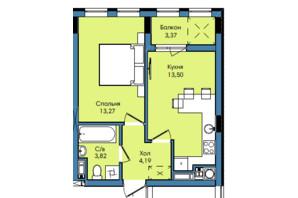 ЖК Washington City: планування 1-кімнатної квартири 38.15 м²