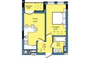 ЖК Washington City: планування 1-кімнатної квартири 36.96 м²