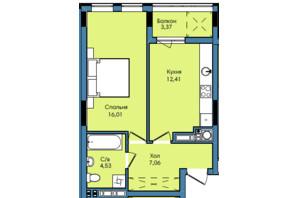 ЖК Washington City: планування 1-кімнатної квартири 43.38 м²