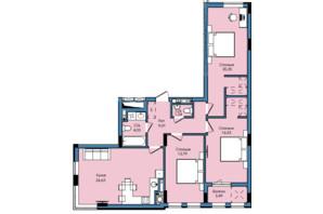 ЖК Washington City: планування 3-кімнатної квартири 93.07 м²