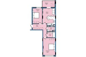 ЖК Washington City: планування 2-кімнатної квартири 73.13 м²