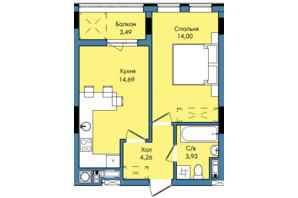 ЖК Washington City: планування 1-кімнатної квартири 40.37 м²