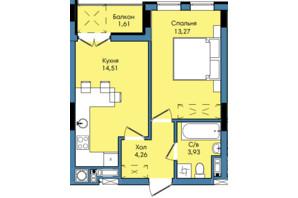 ЖК Washington City: планування 1-кімнатної квартири 37.58 м²