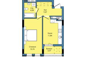 ЖК Washington City: планування 1-кімнатної квартири 42.3 м²