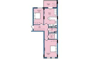 ЖК Washington City: планування 2-кімнатної квартири 72.66 м²