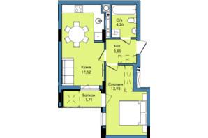 ЖК Washington City: планування 1-кімнатної квартири 40.27 м²