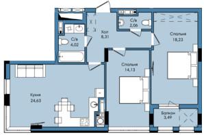 ЖК Washington City: планування 2-кімнатної квартири 74.87 м²