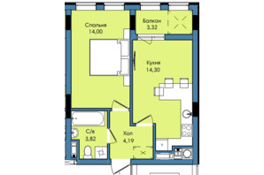 ЖК Washington City: планування 1-кімнатної квартири 39.63 м²