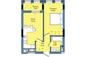 ЖК Washington City: планування 1-кімнатної квартири 41.62 м²