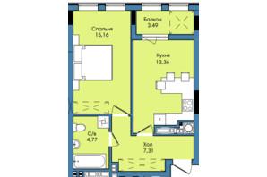 ЖК Washington City: планування 1-кімнатної квартири 44.09 м²