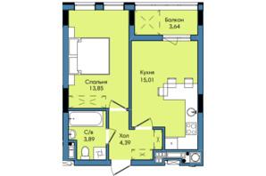 ЖК Washington City: планування 1-кімнатної квартири 40.78 м²