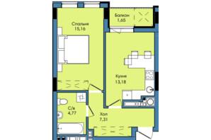 ЖК Washington City: планування 1-кімнатної квартири 42.07 м²