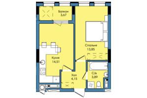 ЖК Washington City: планування 1-кімнатної квартири 40.07 м²