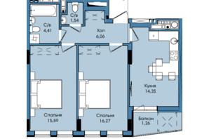 ЖК Washington City: планування 2-кімнатної квартири 59.48 м²
