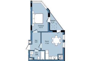 ЖК Washington City: планування 1-кімнатної квартири 42.98 м²
