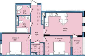 ЖК Washington City: планування 2-кімнатної квартири 70.39 м²