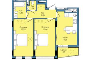 ЖК Washington City: планування 2-кімнатної квартири 60.21 м²