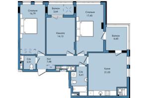 ЖК Washington City: планировка 3-комнатной квартиры 95.04 м²