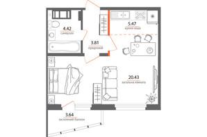 ЖК Welcome Home на Стеценка: планировка 1-комнатной квартиры 37.05 м²