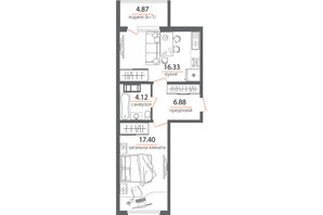 ЖК Welcome Home на Стеценка: планировка 1-комнатной квартиры 49.6 м²