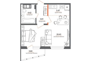 ЖК Welcome Home на Стеценка: планировка 1-комнатной квартиры 37.04 м²