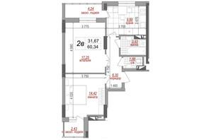 ЖК West House: планировка 2-комнатной квартиры 60.8 м²