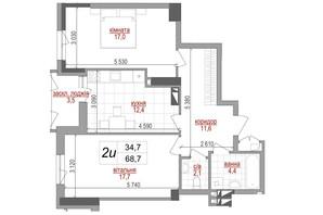 ЖК West House: планировка 2-комнатной квартиры 68.7 м²