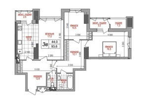 ЖК West House: планировка 3-комнатной квартиры 93.6 м²