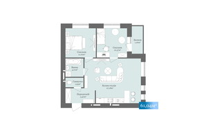 ЖК West Towers: планировка 2-комнатной квартиры 61.04 м²