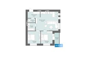 ЖК West Towers: планировка 2-комнатной квартиры 58.63 м²