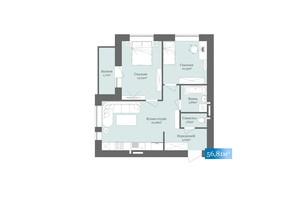 ЖК West Towers: планировка 2-комнатной квартиры 56.81 м²