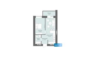ЖК West Towers: планировка 1-комнатной квартиры 34.81 м²