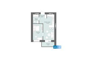 ЖК West Towers: планировка 1-комнатной квартиры 36.77 м²
